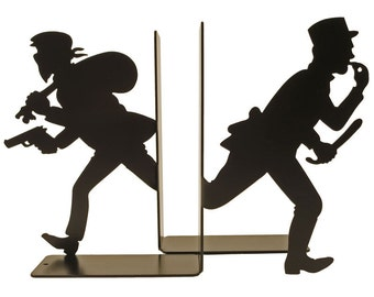 Pair of bookends policeman and robber in red or black