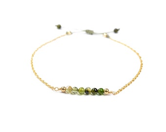 Bracelet chain green Tourmaline gold filled * 14 k adjustable