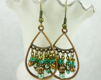 Aqua and Jade Green Glass Beads with Copper and Bronze Earrings