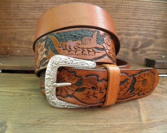 4 cm leather belt handmade coutry flowers