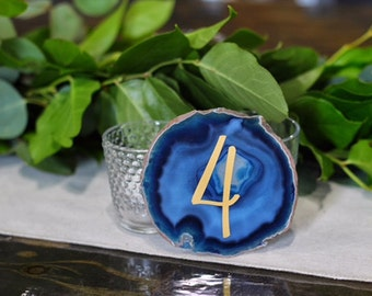 Wedding Table Numbers with Gold or Silver Vinyl - Wedding Decor -Agate Table Numbers - Gold or Silver -  Modern Table Decor