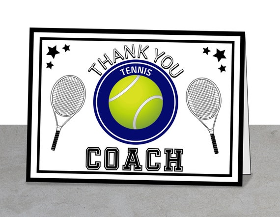 tennis teacher thank you card tennis coach printable 5 x 7