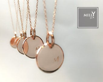 Initial Necklace / Personalized 12mm Heavy Sleek Disc/ Hand Stamped or Engraved/ Good for Bridesmaid, Birthday and Love Gift