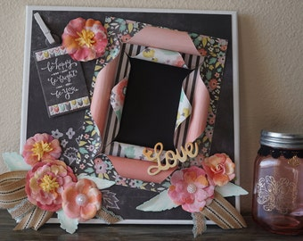 Be Happy-Love Altered Canvas Picture Frame