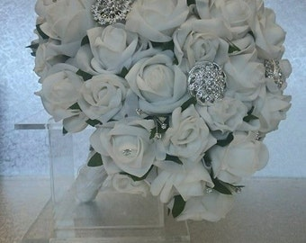 Foam Rose Wedding Bouquet with Brooches