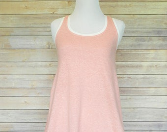 Racerback swing tank top - peach pink distressed with white bands - Available in plus sizes