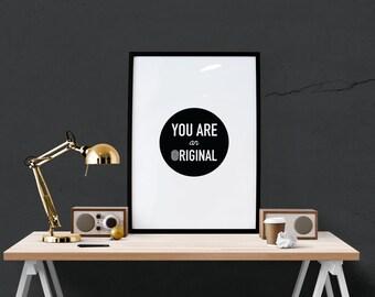 You are an Original Minimal Print Poster Fingerprint Uniqueness Prints