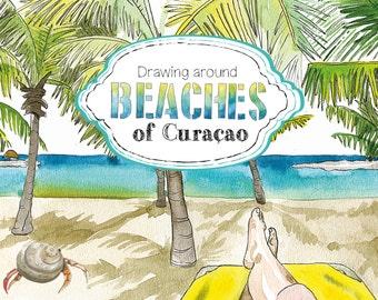 "Beaches of Curacao // curacao // beaches // book with illustrations // boek // caribbean // gift // cadeau // ""ilse koster"""