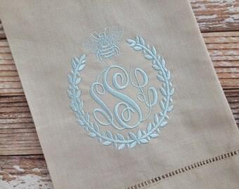 Bee Laurel Monogrammed Linen Guest Towel
