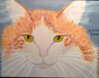 Yiddi, Orange and White Cat Signed Oil Painting, 12x14 inches