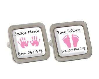 Personalised - Pink Hands & Feet Cufflinks