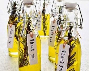 LIVRAISON gratuite 100 faveurs de l'huile d'Olive romarin, infusé d'huile d'Olive grecque, Wedding Bridal Shower Party Favors, des faveurs de mariage Unique d'huile d'Olive