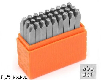 1 set letter stamp hallmark of 1.5 mm Basic (sans serif) ImpressartLowercase lowercase letters