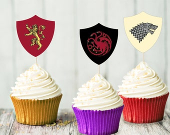 Game of Thrones Cupcake Toppers - House Banners - Stark - Lannister- Targaryen - Greyjoy - Tyrell - Baratheon - Party Decorations