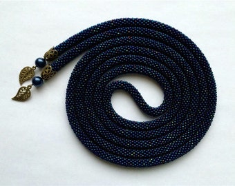 Long Beaded Crochet Rope Necklace, Beaded Lariat Necklace, MADE TO ORDER