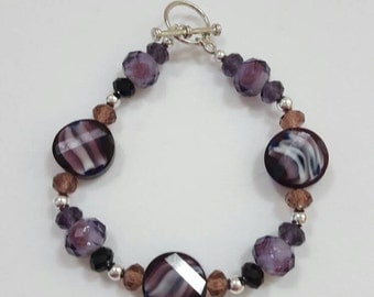Purple black and gray disc bead bracelet