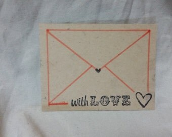 Coral Envelope With Love Card