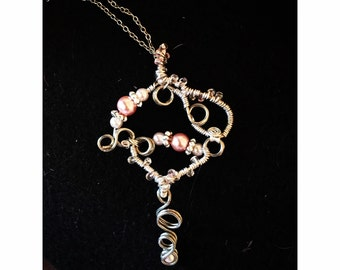 Pink Pearl Key Necklace