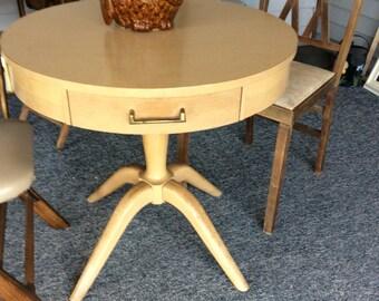 MOD Blonde Mersman 8026 Kitchen Table w Rare Pedestal Style