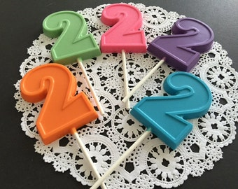 NUMBER TWO Chocolate Lollipop(12 qty)-2nd Birthday/Birthday Favor/ Number Two Pop/Party Favor/2nd Birthday Party/Chocolate Number 2 Lollipop