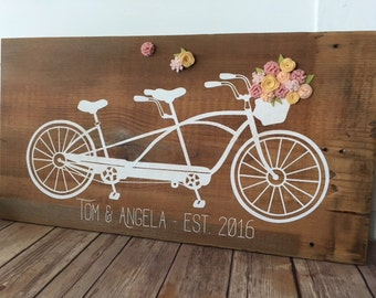 Bicycle Built for Two Customizable Wood Sign/Reclaimed Wood/Barn Wood/Wedding Sign/Home Decor/Rustic Decor/Wedding/Felt flowers/Housewarming