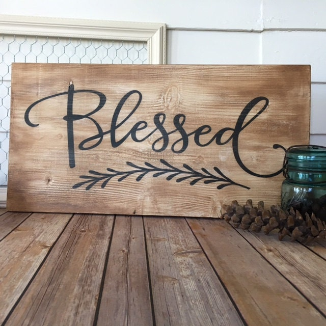 Vintage Wooden Signs Home Decor: Wooden Sign 'Blessed' Home Decor Wall Hanging Antique