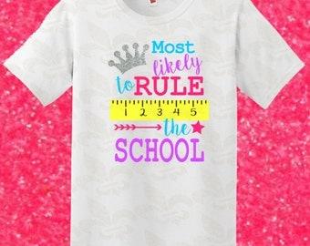 Rule the School Back to School Fun School Shirtsmostl Custom Vinyl Shirt Custom Girl Shirt Custom School Shirt
