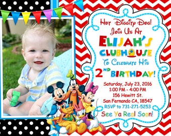 Mickey Mouse Clubhouse Invitation Printable, Mickey Mouse Clubhouse Birthday Party