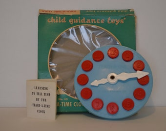 Vintage Teach-a-time-Clock Childrens Toy 1970's