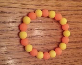 """Yellow & Orange Silicone Stretch Bracelet 7"""""""