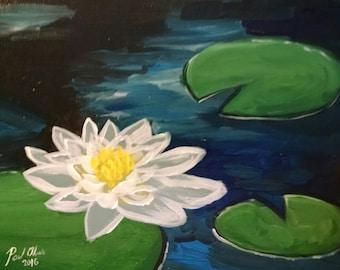 Original painting - water lotus 8 x 10