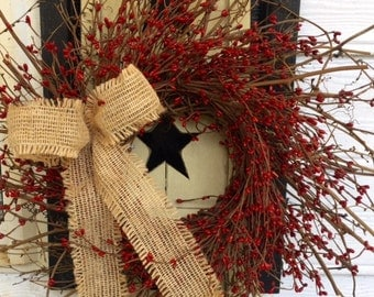 Rustic Shutter with Beautiful Red Pip Berry Wreath