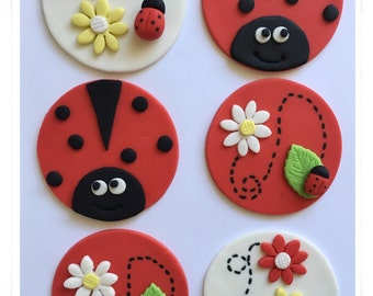 Set of 12 Ladybug cupcake toppers