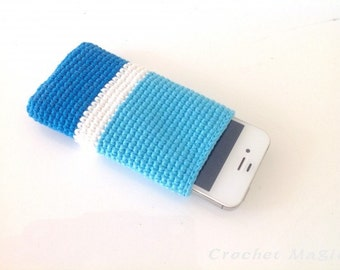 Blue Crochet iPhone 5SE Cover, iPhone 4/5 cover, IPhone 5SE blue cover