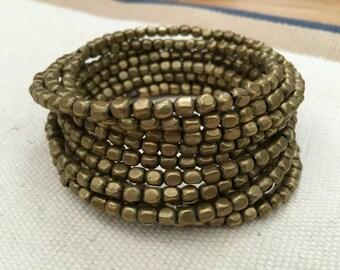 Gold Bead Coil Bracelet