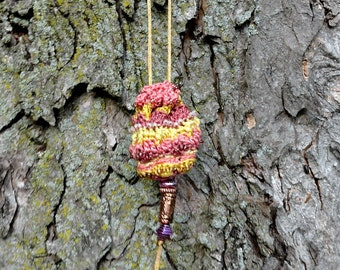 Crocheted Amulet Bag in Pink and Yellow