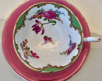 Pretty Pink Addiction-Deliciously Mismatched Aynsley Teacup and Saucer