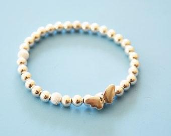 Sterling beaded butterfly bracelet, sterling silver beaded bracelet,beaded stretch bracelet, butterfly beaded bracelet