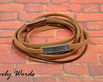 Bracelet man leather 1 mm + suede 4mm / 1 mm Brown HOPE metal ergente