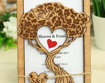 Tree of Love Wedding Invitation, wedding invitation, wood invitation, wood wedding invitation, unique wedding invitation, rustic invitation