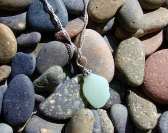 Sea glass pendent teal