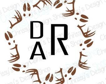 Deer antler and deer tracks svg file / animal monogram svg / deer svg / antler svg / animal svg / antler clipart / vinyl crafing