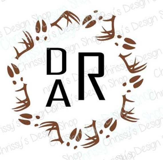Deer antler and deer tracks svg file / animal monogram svg /