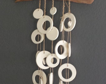 Mod ceramic bisque ware macrame ghost wood wall hanging