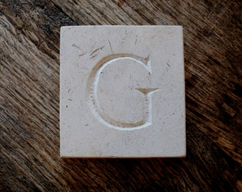 Letter 'G' Hand Carved In Beautiful White Portland Stone Standing Stone Fossil Tablet Everlasting Wedding Christening Gift Personalised Art