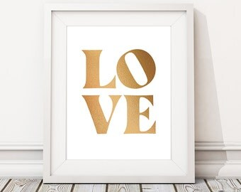 Gold 'LOVE' print, Home interiors, Wall art prints and posters  (Frame not included. Gold is printed digitally)