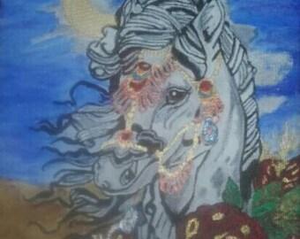 Gypsy horse at dusk