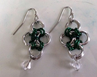 Japanese Lace Earrings, Green and Silver