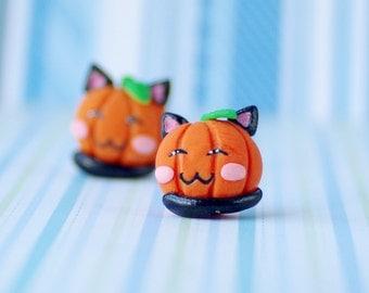 Halloween Pumpkin Earrings, pumpkin cat earrings, kawaii pumpkin stud earrings