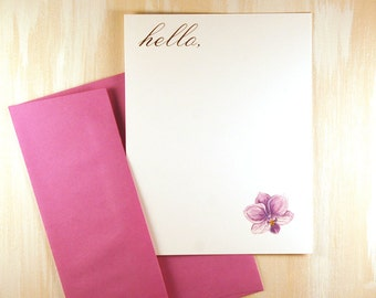 Personalized Stationery Set, Purple Orchid, Hand Painted Thank You Note Cards, Flat Note Cards, Orchid Stationery, Stationary Set, set of 12